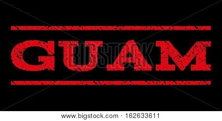 Guam watermark stamp. Text tag between horizontal parallel lines with grunge design style. Rubber seal stamp with scratched texture. Vector red color ink imprint on a black background.