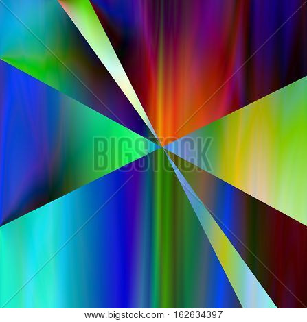 Abstract vibrant color background art , large format, Multicolor light and bright geometric design and textures. Radiating one of a kind design artwork. of triangular slices of deep rainbow color.