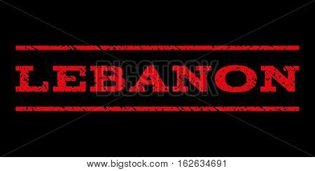 Lebanon watermark stamp. Text tag between horizontal parallel lines with grunge design style. Rubber seal stamp with dust texture. Vector red color ink imprint on a black background.