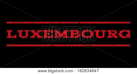Luxembourg watermark stamp. Text caption between horizontal parallel lines with grunge design style. Rubber seal stamp with unclean texture. Vector red color ink imprint on a black background.