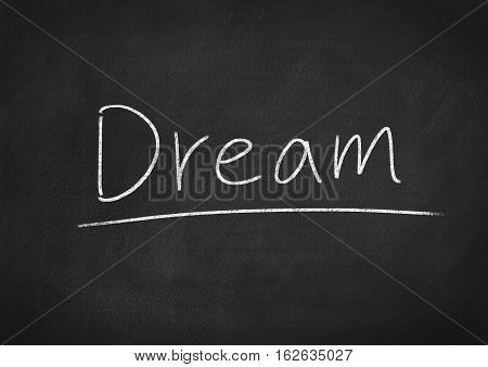 dream concept word text on blackboard background