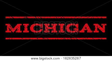 Michigan watermark stamp. Text tag between horizontal parallel lines with grunge design style. Rubber seal stamp with dirty texture. Vector red color ink imprint on a black background.