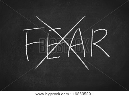 no fear concept word text on blackboard background