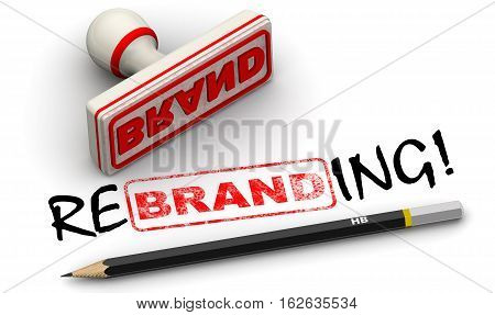 Brand - rebrending. Seal and imprint. Red seal and imprint
