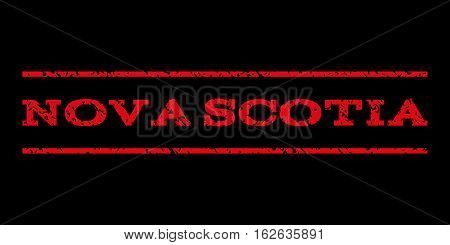 Nova Scotia watermark stamp. Text tag between horizontal parallel lines with grunge design style. Rubber seal stamp with dust texture. Vector red color ink imprint on a black background.