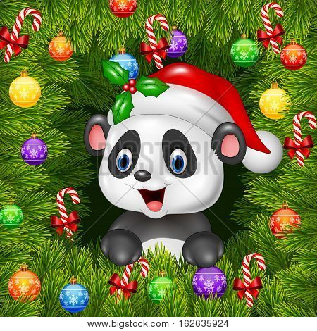 Vector illustration of Christmas background with happy panda bear