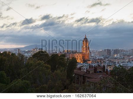 Evening View Of The Cathedral Of Malaga