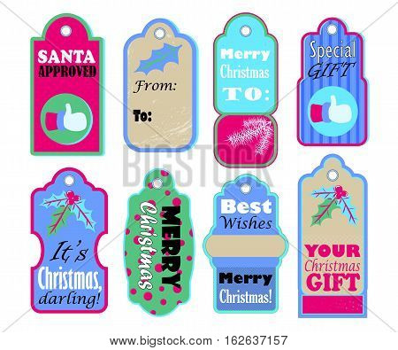 Christmas gift tags vector set on white background. Colorful seasonal icons for sale or discount offer. Merry Christmas and Best wishes labels for present wrapping. Santa Claus thumb. New Year decor