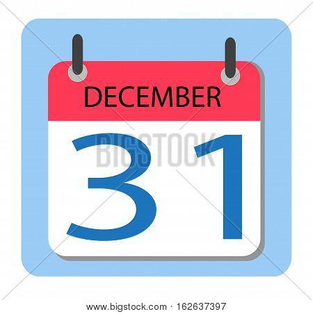 Calendar 31 december. New Year. red Calendar icon Dec 31.