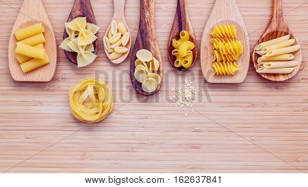 Italian Foods Concept And Menu Design. Various Kind Of Pasta Farfalle, Pasta A Riso, Orecchiette Pug