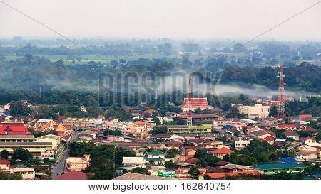 City evening Uthai Thani Province of Thailand