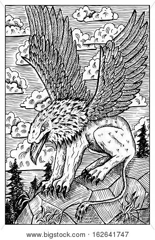 Gryphon or griffin. Monster with eagle head and lion body. Fantasy magic creatures collection. Hand drawn vector illustration. Engraved line art drawing, graphic doodle. Template for card game, poster