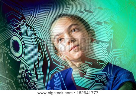 girl thoughtfully looking throw the motherboard silhouette concept of informatics computer science new generation