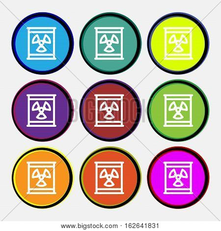 Radiation Icon Sign. Nine Multi Colored Round Buttons. Vector