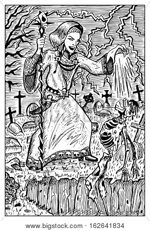Necromancer or warlock with undead by grave. Fantasy magic creatures collection. Hand drawn vector illustration. Engraved line art drawing, graphic mythical doodle. Template for card game, poster