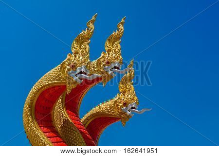 Naga sculpture in the temple of Thailand