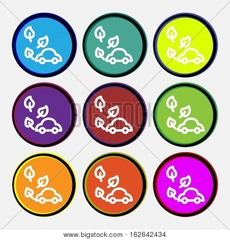Eco Car Icon Sign. Nine Multi Colored Round Buttons. Vector