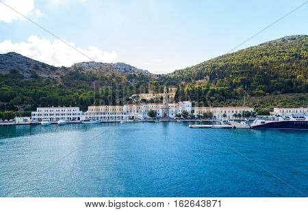The monastery at Panormitis on the Island of Symi in the Dodecanese Greece Europe