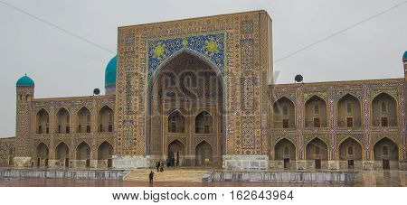 Madrasah Tilla-Kari on Registan square Samarkand Uzbekistan 2016