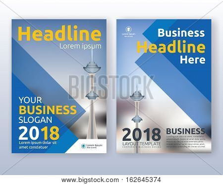 Multipurpose corporate business flyer layout design. Suitable for flyer brochure book cover and annual report. blue color scheme in A4 size layout template background with bleeds.