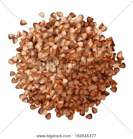 Buckwheat groats pile top view on white background vector illustration