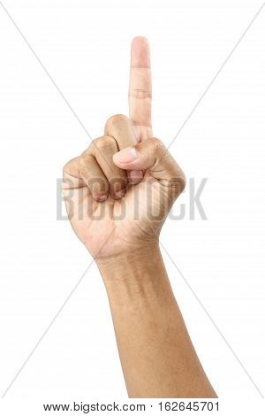 Male hand and fingers showing number one with clipping path.