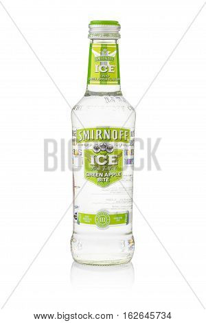 Bangkok, Thailand - Sep 15, 2015 : A Single Bottle Of Smirnoff Ice Green Apple Bite. Established Aro