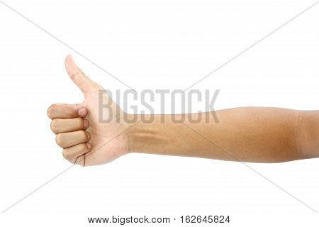 Thumb up man's hand sign isolated on white background with clipping path.