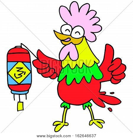 Character rooster with lampion for Chinese New Year illustration