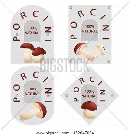 Abstract vector illustration of logo for mushroom porcini