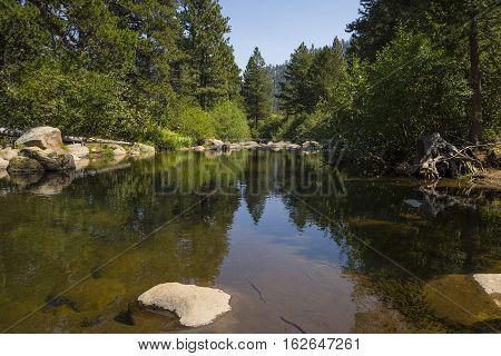 West Fork Of The Carson River, California. Peaceful Section Of River In The Forest.