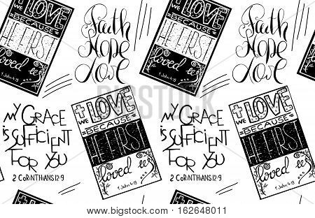 Faith hope love. Bible lettering. Brush calligraphy. Hand drawing illustration. Vector design. Words about God.