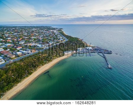 Aerial View Of Black Rock Suburb, Pier, And Wharf Melbourne, Australia