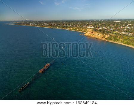 Aerial View Of Historic Shipwreck Of Hmvs Cerberus At Sunset. Melbourne, Victoria, Australia