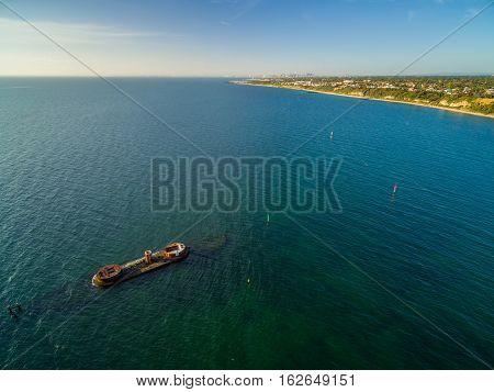 Aerial Panorama Of Historic Shipwreck Of Hmvs Cerberus At Sunset. Melbourne, Victoria, Australia