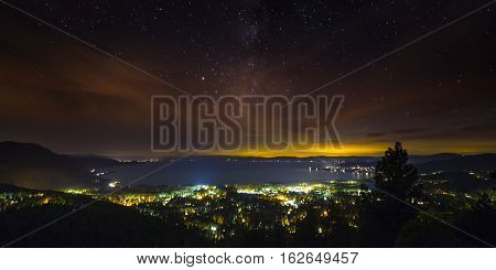 Lake Tahoe At Night With Sunset And Milky Way