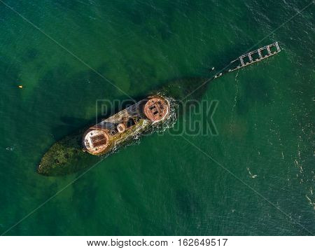 Looking Straight Down From The Air At Historic Shipwreck Of Hmvs Cerberus