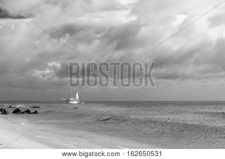 Picture Showing A Big Sailboat On Sea