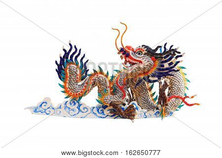 China Dragons Statue On The White Background.