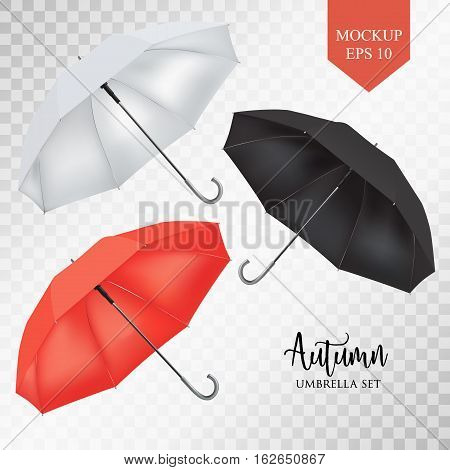 Vector realistic parasol rain umbrella, Sunshade set. Red, white black colored .Blank Classic Round slanted Mock up on transparent background .Side View. object for advertising, poster, banner design.