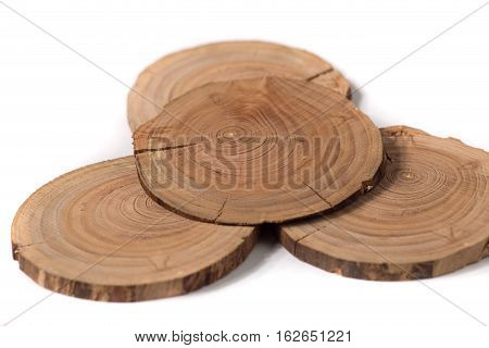 Concept dendrochronology. tree trunks clearly visible annual rings, round slices of trees, white background