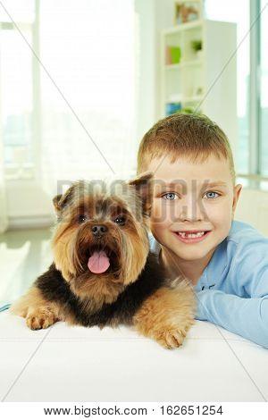Portrait of a little boy with lap dog