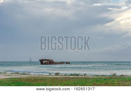 Aground Ship In A Blue Caribbean Sea