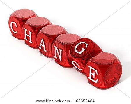 Chance word turning to change. 3D illustration.