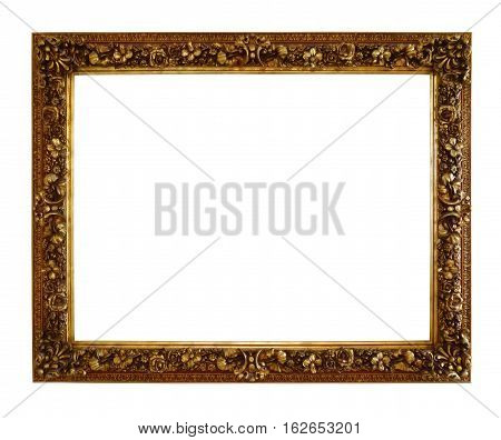 Old style antique wooden craft photo frame isolated on white background clipping path.