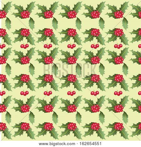 Christmas pattern of Holly leaves and berries. Seamless pattern. Design for textiles, tapestries, napkins, wrapping paper.