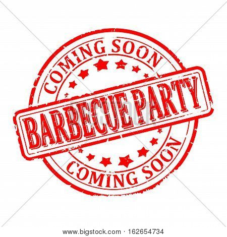 Scratched round red stamped - barbecue party - coming soon - vector