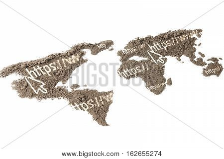 the http Address on the world map with the texture of the soil isolated on white background