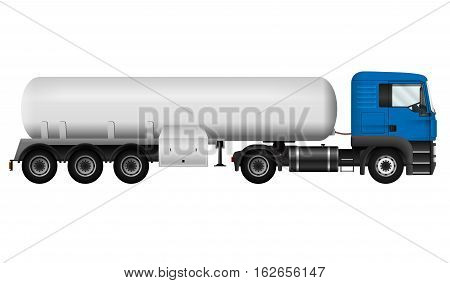 Blue lorry with white cistern. Isolated tanker truck on white background side view. Cargo vehicle template. All elements in groups on separate layers. The ability to easily change the color.