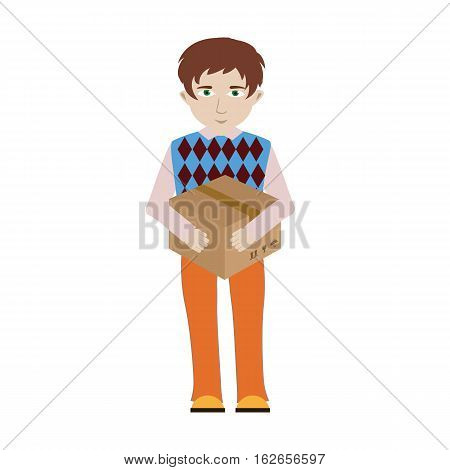 Cheerful smiling cartoon delivery man character is carrying a bulky cardboard package. Great for delivery service or profession themes design.